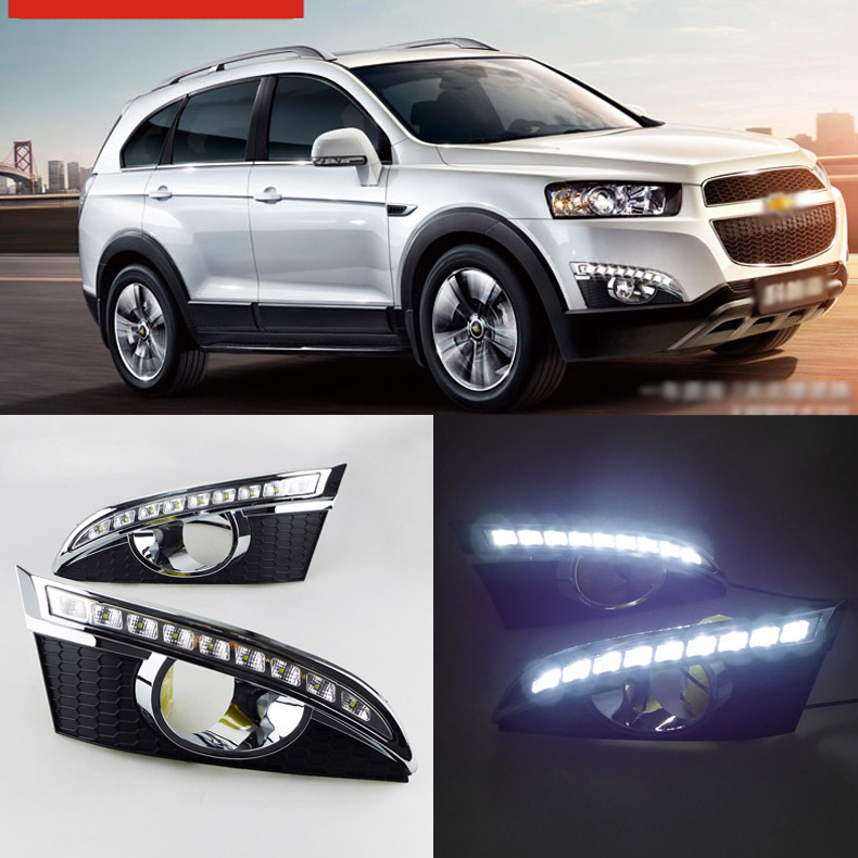 Ownsun Brand New Updated LED Daytime Running Lights DRL With Black Fog Light Cover For Chevrolet Captiva 2011-2012 цена и фото