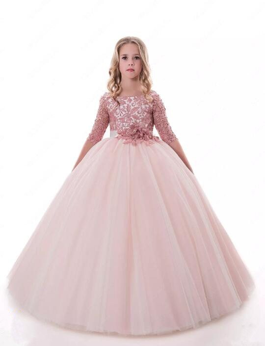 2017 Pink Ball Gown Flower Girls Dresses for Wedding Applique Tulle with Sash Three Quarter Sleeves Girls Party Pageant Gown