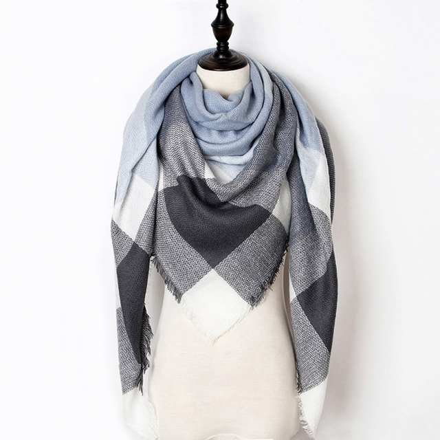 2018 Winter Scarf Women Cashmere Plaid Pashmina Scarf Luxury Brand Blanket Wraps Female Scarves and Shawls 140*140*210cm 2
