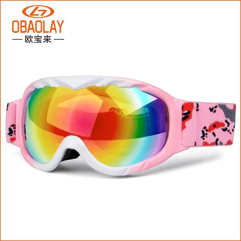 d4836f30b1 Los niños de esquí de nieve gafas Anti niebla UV400 doble lente invierno  Snowboard gafas para niños niñas gafas de esquí