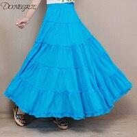 New Long Skirt Elegant Style Women Pastel Pleated Maxi Chiffon Skirts 2019 Beach Boho Summer Skirts Faldas Saia Tulle Skirt