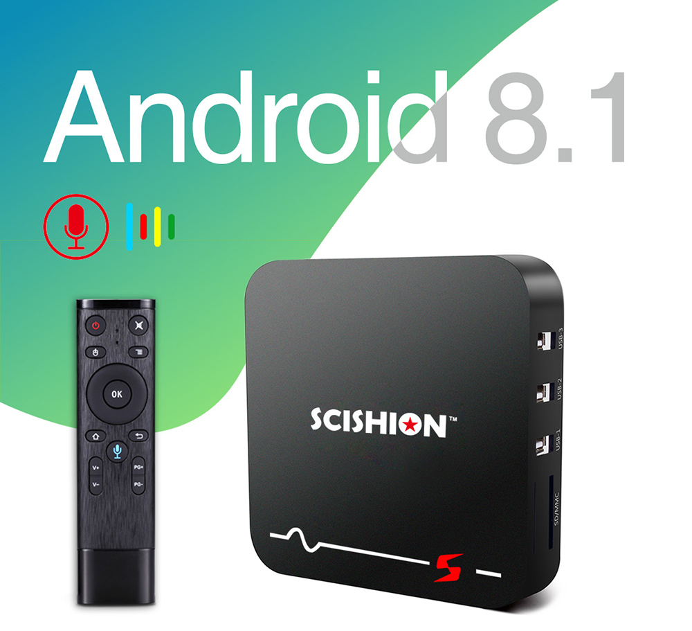 SCISHION Model S TV Box RK3229 Android 8.1 2GB RAM 16GB ROM 2.4G WiFi 100Mbps Smart TV BOX With Voice Remote PK Scishion V88 X96SCISHION Model S TV Box RK3229 Android 8.1 2GB RAM 16GB ROM 2.4G WiFi 100Mbps Smart TV BOX With Voice Remote PK Scishion V88 X96