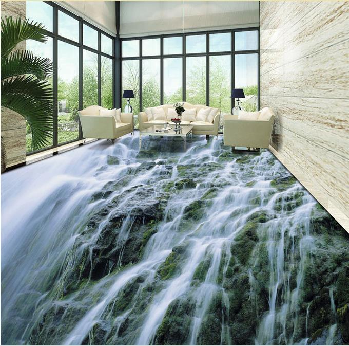 ФОТО custom 3d floor murals waterproof wall paper self adhesive 3d flooring Stream waterfall bedroom wallpaper 3d floor tiles