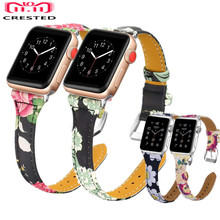 CRESTED Leather Strap For Apple Watch 4 Band 44mm 40mm correa Iwatch Series 4 3 2 1 42mm/38mm wrist link Bracelet Watchband belt