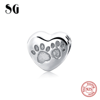 Authentic 925 Sterling Silver Heart Bead Charm I Love Animal Acrylic Crystal Beads Fit Pandora Bracelet