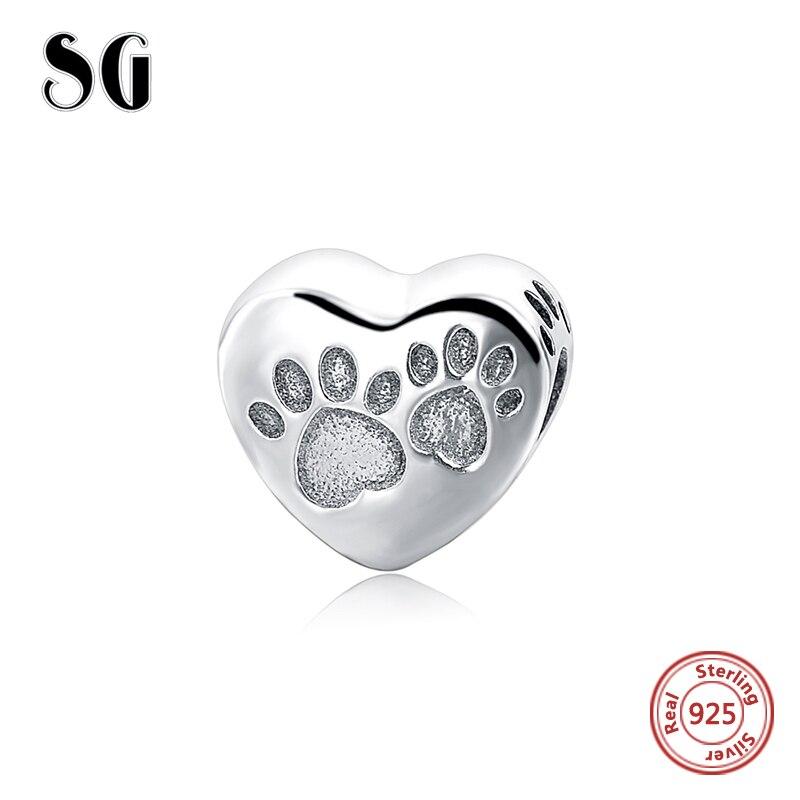 Footprints Dog Love Heart Shape Beads Fit pandora Charm Silver 925 original Bracelets Authentic pendant Luxury DIY Jewelry Gift