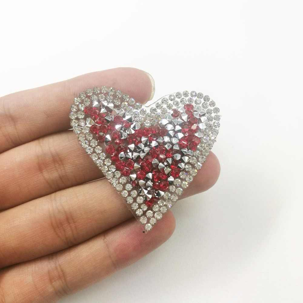 ... 1pcs Crystal Heart Patches Motif Hotfix Rhinestone Applique Jewelry For Children  Kids Women Dress Clothes Wedding ... 4f2a7206f0c7