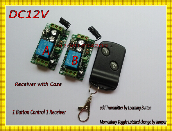 DC12V RF Wireless Remote Control Switch 1Transmitter 2Receiver 1Button1Receiver Big Button Transmitter Learning Receiver 315/433 wireless pager system 433 92mhz wireless restaurant table buzzer with monitor and watch receiver 3 display 42 call button