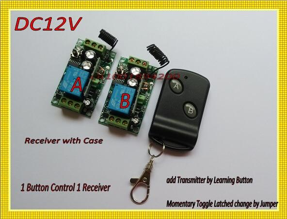 DC12V RF Wireless Remote Control Switch 1Transmitter 2Receiver 1Button1Receiver Big Button Transmitter Learning Receiver 315/433 dc24v 8ch rf wireless remote control switch 8 receiver