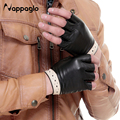 Nappaglo Spring Lovers Sheepskin Gloves Half Finger Hollow Style Genuine Leather Glove Drive Fingerless Mittens Driving Mittens