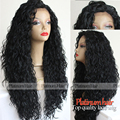 Top Quality Wig Loose Curly Wigs 180% Heavy Density Glueless Black Color Curly Hair Synthetic Lace Front Wigs Heat Resistant