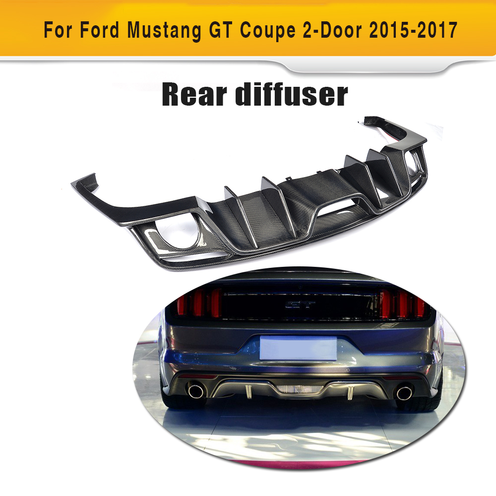 carbon fiber rear bumper lip diffuser for Ford Mustang Convertible Coupe 2 Door Only 15-17 USA Market