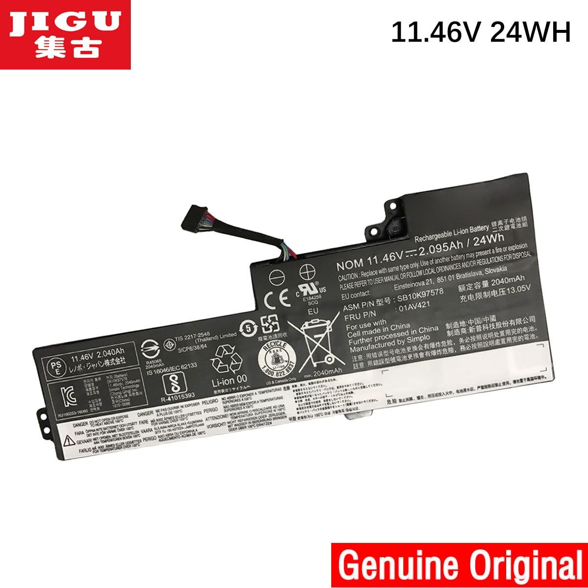 JIGU 11.46 V 24WH 01AV419 01AV420 SB10K97577 SB10K97578 D'origine Batterie de Tablette Pour LENOVO Pour ThinkPad 25 T470 T480