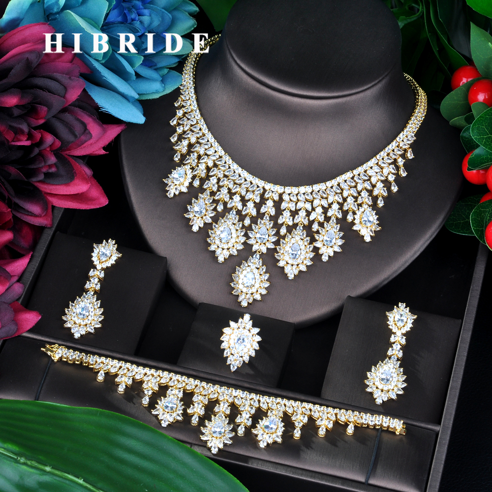 HIBRIDE Charm Gold Color AAA Cubic Zirconia Jewelry Sets for Women Bridal Wedding Sets 4 Pcs