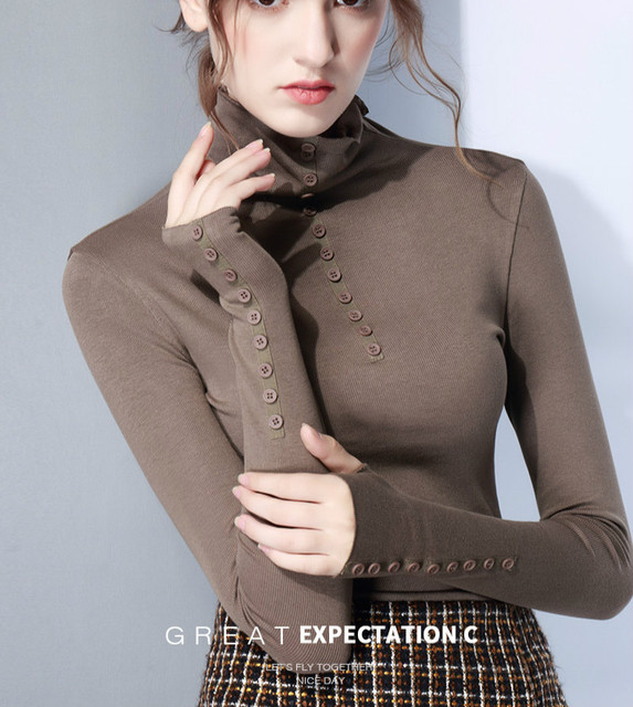 81301d712218 2017 Autumn Winter Long Sleeve Turtleneck Black Cotton T shirts ...