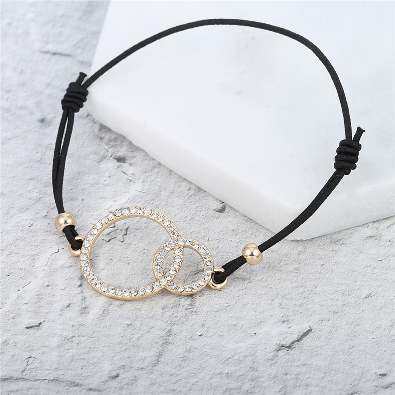 Simple Design Round Two Circles Crystal Charms Bracelet for Women Elastic Rope Adjustable Chain Bracelet Dropshipping 2018 new 21