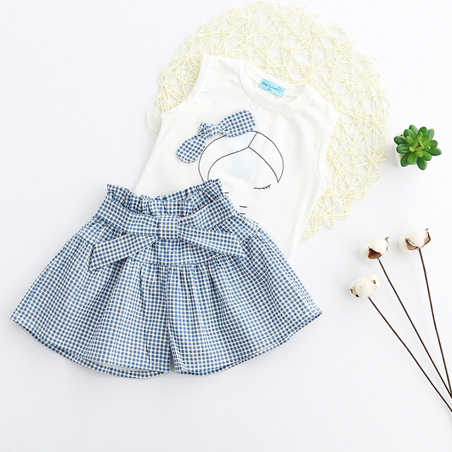 Bear Leader Girls Clothing Sets Brand Summer Style Kids Clothing Sets Sleeveless White T-shirt+Plaid Culottes 2Pc Girl Suit