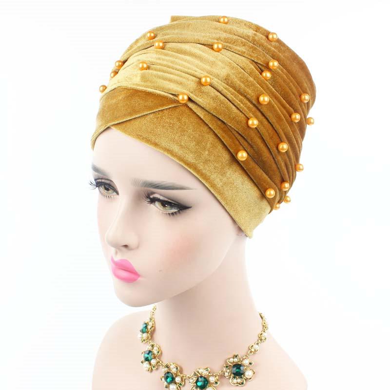 New luxury beaded pearled velvet turban long head scarf headwrap women muslim hijab Bandanas Hair Accessories 18
