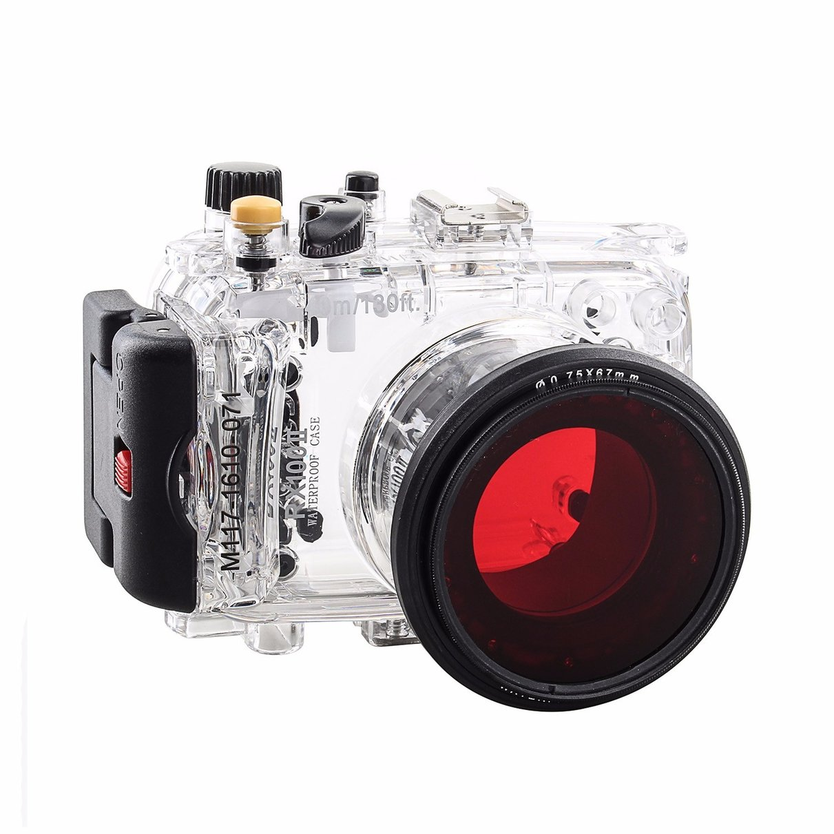 40m 130ft Waterproof Underwater Camera Housing Diving Case for SONY RX100 ii RX100M2 + 67mm Red Filter meikon 40m wp dc44 waterproof underwater housing case 40m 130ft for canon g1x camera 18 as wp dc44