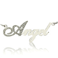 Freeshipping Silver Capital Letter Name Necklace Personalized Nameplate Pendant Letters Jewelry