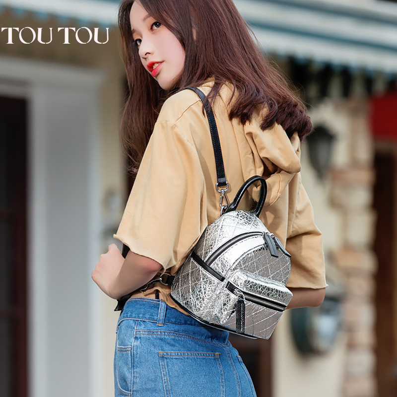 цены TT072 2017 New silver PU Leather Women Backpack Female Fashion Rucksack Brand Designer Ladies Back Bag High Quality School Bags