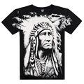 Cool 3D Printed On Shoulder Shirt, XXXL Casual Men's Wear Indian Feather T Shirt Famous Brand New 2015 Arrival Creative Summer