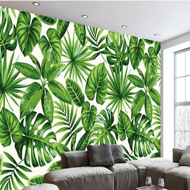 Anpassen 3D Tapeten Moderne Minimalistische Grünen Pflanzen Style Pastoral  3D Wandbilder Für TV Hintergrund Wand Schlafzimmer