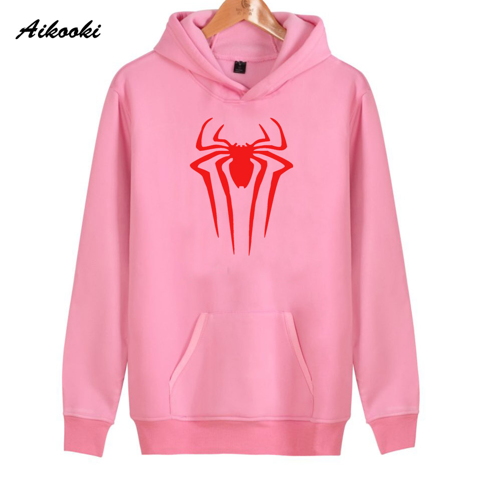 2018 Aikooki SpiderMan Hoodies Women/Men Cotton Pink Harajuku High Quality Womens Hoodies and Sweatshirt Casual Clothes