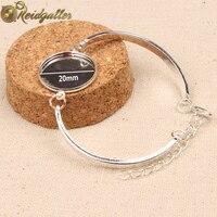 10pcs Bracelet Cabochon Setting 20mm Round Silver Plated Blank Bezel Bracelet Base Trays Diy Jewelry Accessories