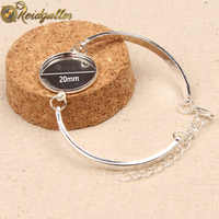 Reidgaller 10 pièces Bracelet Serti Cabochon 20mm Rond argent plaqué lunette vierge bracelet base plateaux bijoux à bricoler soi-même accessoires
