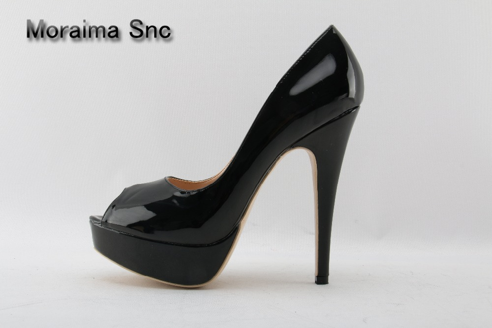 Moraima Snc Wedding Party Dress Woman Shoes Peep Toe High Platform High Heels Sandals Black Patent Leather Stiletto Pumps Shoes shinny patent leather high platform stiletto buckle strap women sandals party dress nude black lady pumps high heel dress shoes