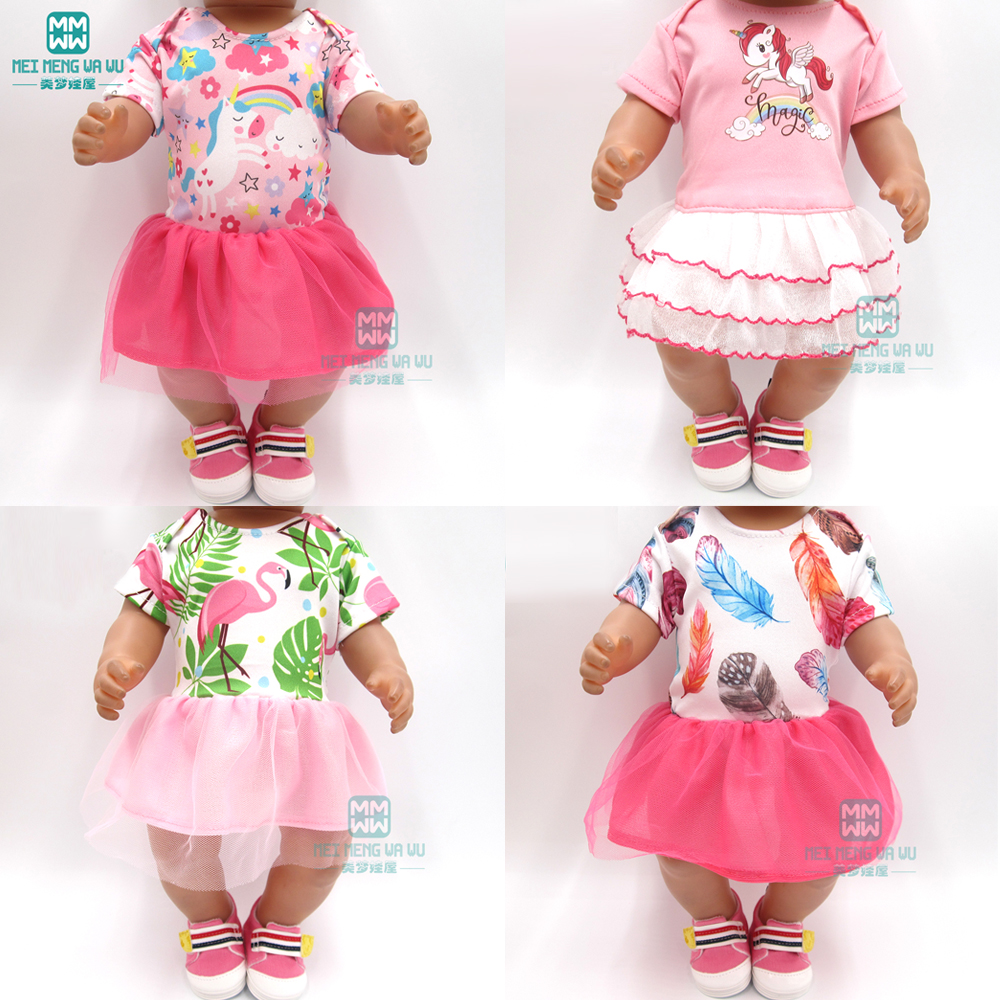 Doll Clothes For 43 Cm Baby New Born Doll Cartoon Elastic Force Girl Dress