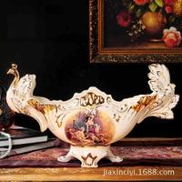 European luxury ivory porcelain fruit plate fruit plate retro palace luxury home decorative ceramic ornaments decorations