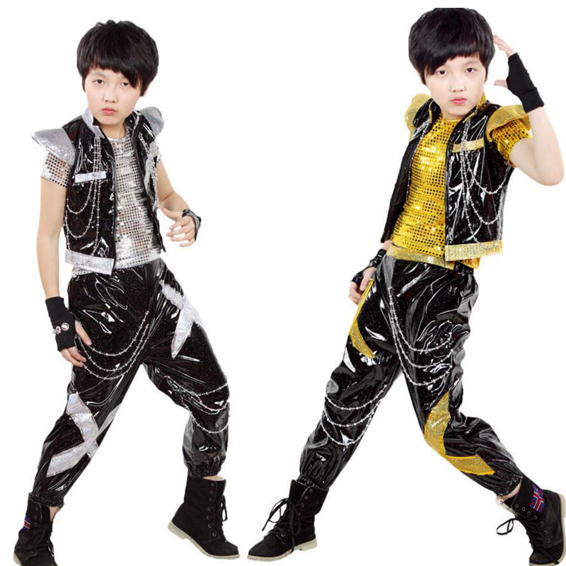>3-piece set Boys Sequined Ballroom Jazz Hip Hop Dance Costumes Kid Performance dance Clothes Tops Shirt Dance Stage Wear <font><b>Outfits</b></font>