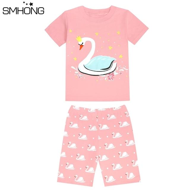 New Pajama Set Girls Boys Clothing Sets Cartoon Cat Swan Printed Cotton Summer Kids Pajamas Sets for Children
