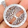 Гарантия Простой Стерлингового Серебра 925 Дерево жизни Кулон, 47 мм, 6 г, SPJ2065