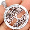 Guarantee Plain 925 Sterling Silver Tree of life Pendant, 47 mm, 6g,  SPJ2065