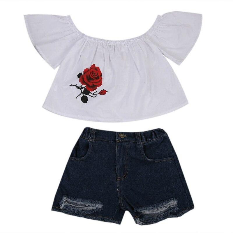 1-7Y Kids Toddler Baby Girls Flower Short Sleeve Cotton Off shoulder Blouse Tops Shirt+Denim Shorts Pants Jeans Outfits Sunsuit