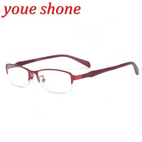Youe Shone Glasses Frame Alloy Pure Colour Cute Super Light Female Grade Transparent Spectacle Frame With