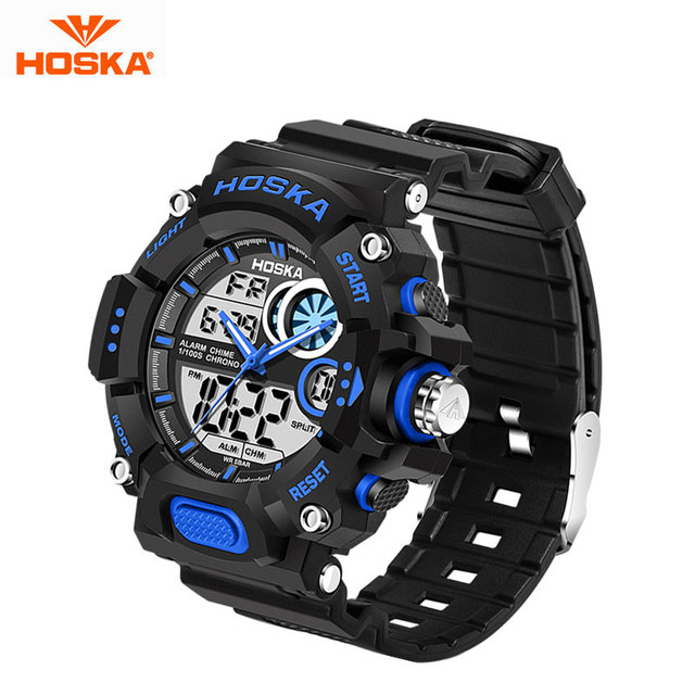 HOSKA Марка Кварцевые Цифровые Часы для Детей На Открытом Воздухе Спорт Relogio Masculino Светодиодные Водонепроницаемые Наручные Часы Reloj Черный HD031