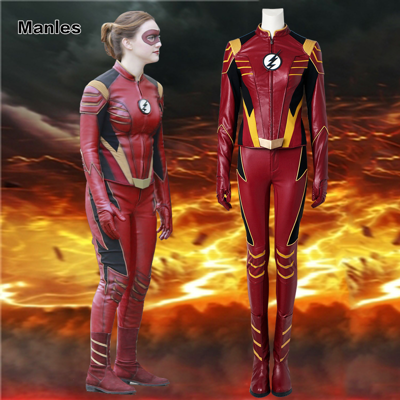 The Flash Jesse Quick Cosplay Costume The Flash Season 3 Costume Superhero Outfit Halloween Suit Adult Women Clothes With Boots