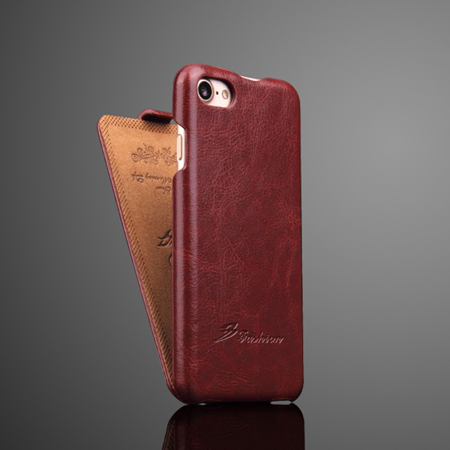 Genuine <font><b>Leather</b></font> Vertical Flip <font><b>Cover</b></font> Case for Apple <font><b>iPhone</b></font> <font><b>6</b></font> 6S 7 8 X XS Max XR Luxury Fundas with Free Gift Screen Protector image