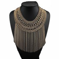 Fashion Multi Layer Chunky Gold Chain Gothic Choker Long Chains Tassel Pendants Women Bib Statement Necklace