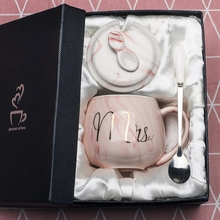 OUSSIRRO Natural Marble Porcelain Coffee Mug Mr and Mrs Tea Milk Cup Creative Wedding Anniversary Gift