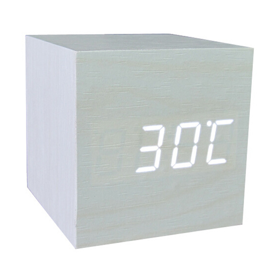 GSFY-Wood Cube LED Alarm Control Digital Desk Clock Wooden Style Room Temperature White wood white led