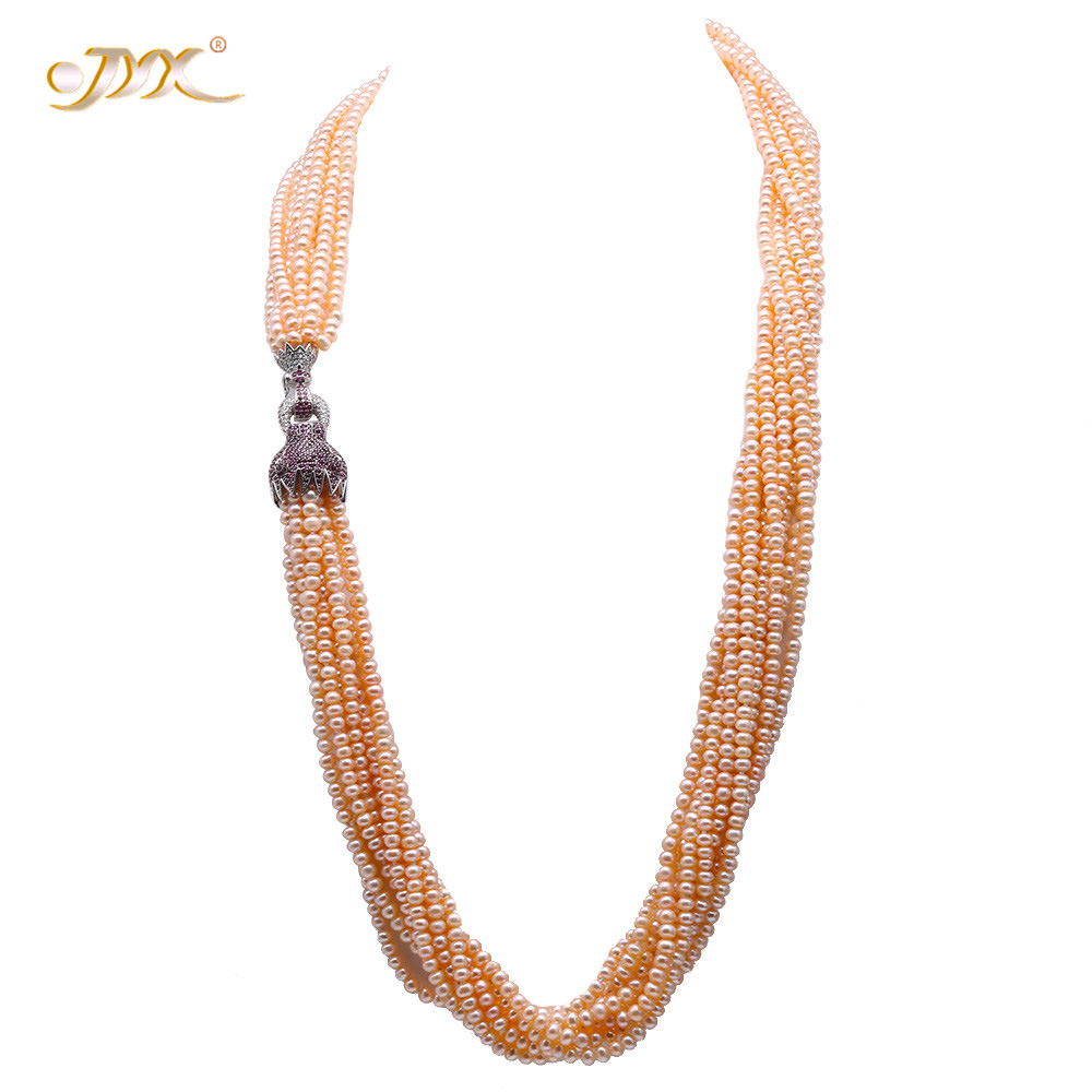 JYX 2019 Pearl Necklace 4.5-5mm Pink Freshwater Cultured Pearl Nine-Strand Opera Long Necklace with Silver Leopard Head Clasp JYX 2019 Pearl Necklace 4.5-5mm Pink Freshwater Cultured Pearl Nine-Strand Opera Long Necklace with Silver Leopard Head Clasp