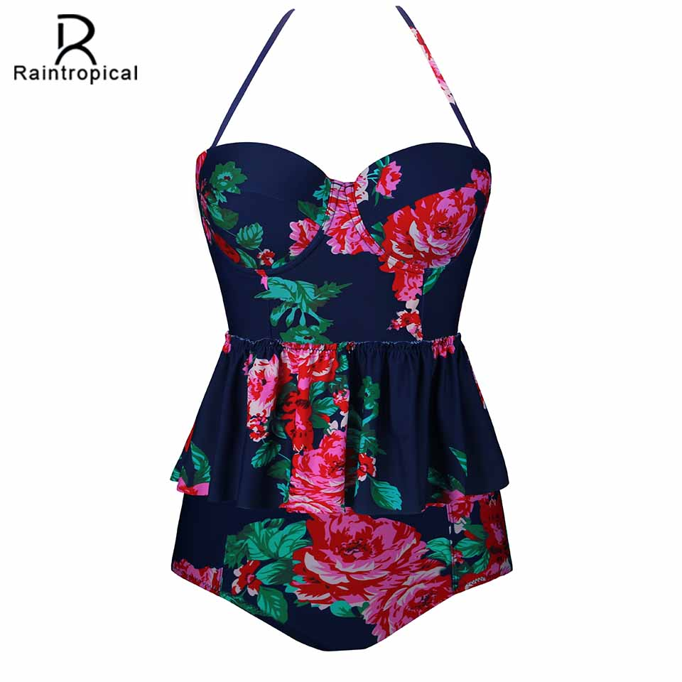 Raintropical 2019 New Sexy Women Swimsuit Plus Size Swimwear Tankini Strappy Swimwear Patchwork Print Female Bathing Suits 5XL