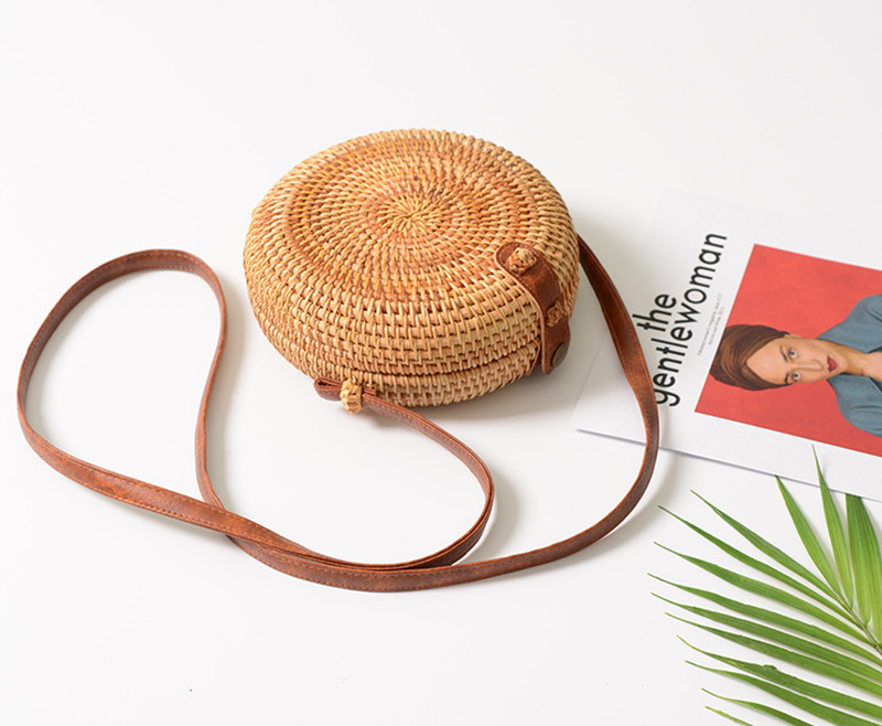 18 Round Straw Bags Women Summer Rattan Bag Handmade Woven Beach Cross Body Bag Circle Bohemia Handbag Bali 22