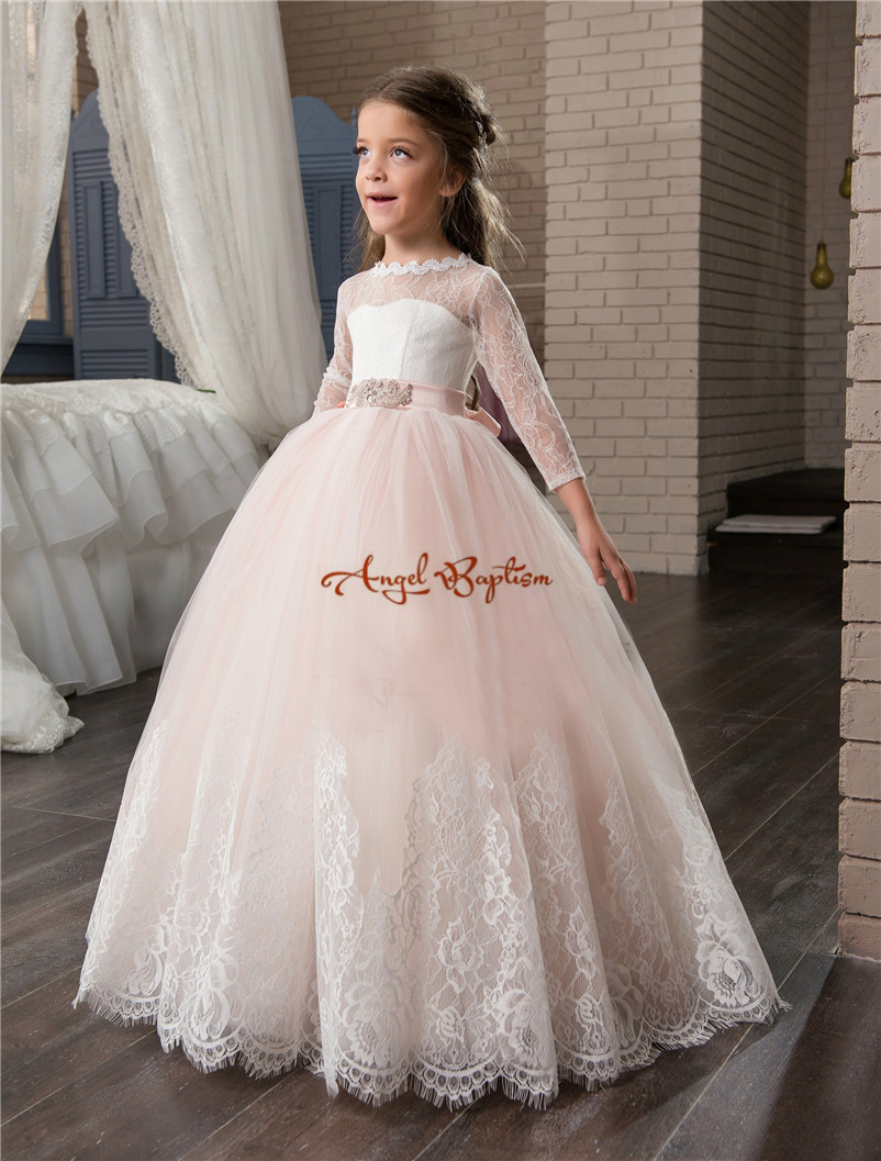 2018 Cute pink ball gown Flower Girl Dresses sheer crew neck bow Girls Birthday Party Christmas Princess Dresses Party Dresses бальзам для губ eos shimmer lip balm sheer pink цвет sheer pink variant hex name e2afba