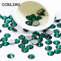 CCBLING ss3 -ss30 Flat Back Emerald 3d Nail Art crystal decorations ) Non Hot Fix Glue on rhinestones for nails stone bead
